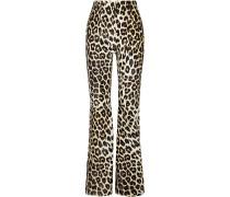 Newman Leopard-print Calf Hair Flared Pants