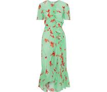 Serelida Asymmetric Shirred Floral-print Crepe De Chine Midi Dress