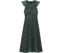 Ruffled Fil Coupé Organza Dress Jade