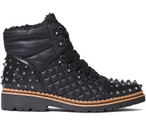 Studded Quilted Leather-paneled Shell Ankle Boots