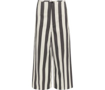 Brodie cropped striped cotton and silk-blend wide-leg pants