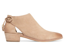 Jennings Cutout Suede Ankle Boots Sand