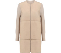 Shearling-paneled Knitted Coat Taupe