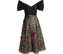 Woman Strapless Embellished Lace Midi Dress Black