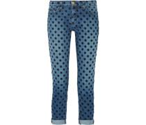 The Fling flocked mid-rise straight-leg jeans