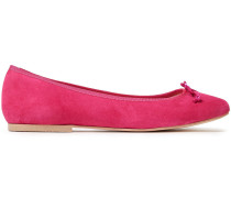 Woman Lola Bow-embellished Suede Flats Fuchsia