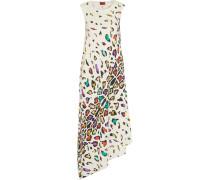 Asymmetric Printed Silk Maxi Dress Mehrfarbig