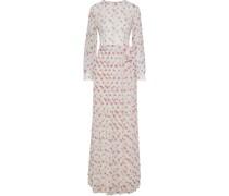 Chantilly Lace-appliquéd Pleated Floral-print Chiffon Maxi Dress