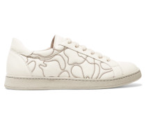Bead-embellished Leather Sneakers Weiß