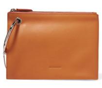 Embellished Leather Clutch Orange