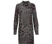 Lucida Leopard-print Washed-silk Mini Dress Anthrazit