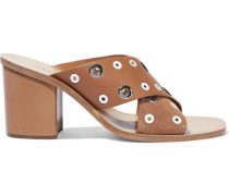 Paige Eyelet-embellished Leather And Suede Mules