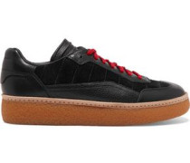 Eden paneled leather and suede sneakers