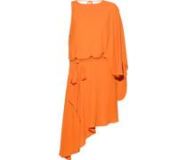 Asymmetric Draped Crepe De Chine Mini Dress Orange Size 0