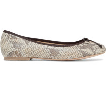 Woman Lola Bow-embellished Snake-effect Leather Ballet Flats Animal Print