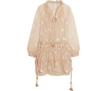 Embroidered Silk-chiffon Mini Dress Beige