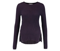 Zip-detailed Ribbed-knit Sweater Dunkellila