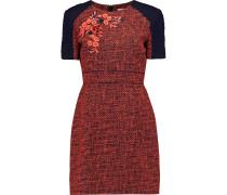Embroidered Tweed Mini Dress Knallorange
