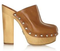 Perri Leather Platform Clogs Braun