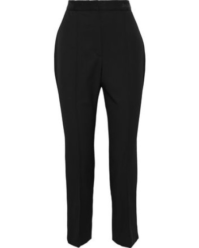 Woman Cropped Grain De Poudre Wool Slim-leg Pants Black