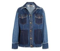 Patchwork frayed denim jacket