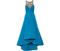 Embellished tulle and cady flared gown