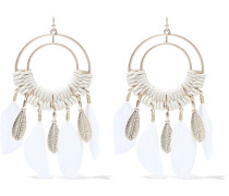 -tone, Cord And Faux Feather Earrings