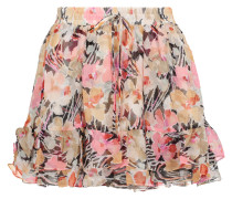 Laurel Floral-print Crinkled Silk-georgette Mini Skirt Mehrfarbig