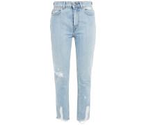 Woman Distressed High-rise Slim-leg Jeans Light Denim