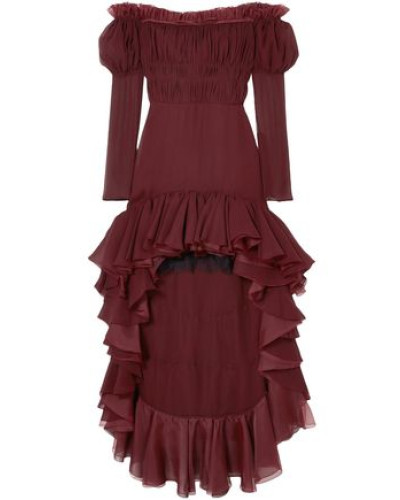Off-the-shoulder Ruffled Silk-georgette Dress Burgundy