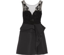 Embellished Tulle And Faille Mini Dress Schwarz