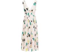 Cutout Floral-print Crepe De Chine Midi Dress