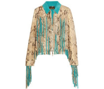 Fringed croc-effect leather jacket