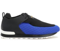 Leather-trimmed quilted neoprene and canvas sneakers