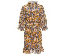 Minikleid aus Musselin mit Floralem Print und Rüschen