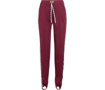 Gingham Poplin-paneled Jersey Track Pants Plaume