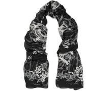 Printed Silk-chiffon Scarf Schwarz