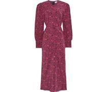 Rosette Floral-print Silk Crepe De Chine Midi Dress