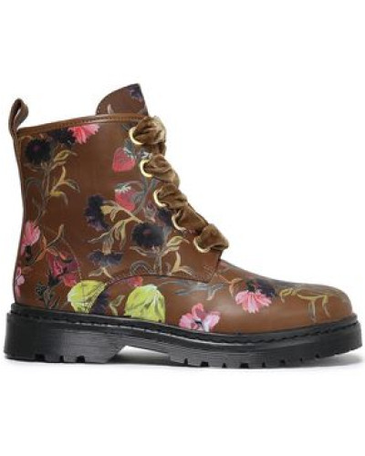 Enzo Floral-print Leather Ankle Boots Brown