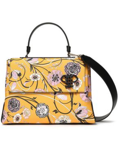 Floral-print Faux Textured-leather Tote Yellow Size --