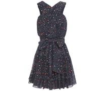 Bow-detailed Printed Metallic Cotton-blend Voile Mini Dress