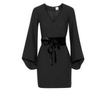 Clarice belted velvet-trimmed crepe mini dress
