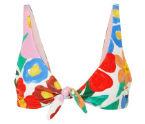 Rio Knotted Floral-print Bikini Top