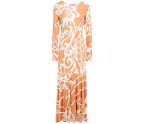 Asymmetric Printed Jersey Maxi Dress