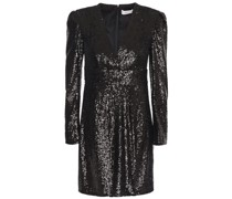 Woman Wrap-effect Sequined Tulle Mini Dress Black