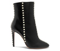 Faux Pearl-embellished Leather Ankle Boots