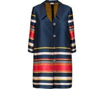 Striped satin-twill coat