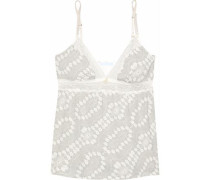 Lace-trimmed printed modal-blend camisole