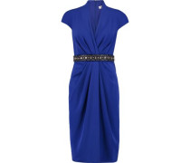 Crystal and bead-embellished draped crepe dress