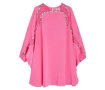 Studded Silk Mini Dress Pink
